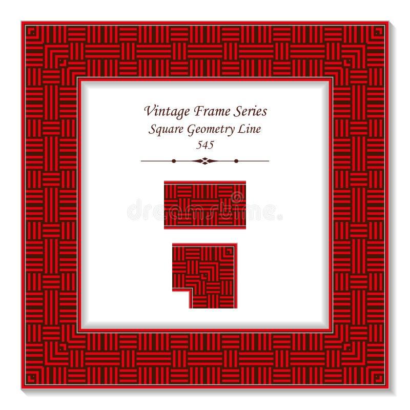 De uitstekende vierkante 3D dwarslijn van de kader rode vierkante meetkunde stock illustratie