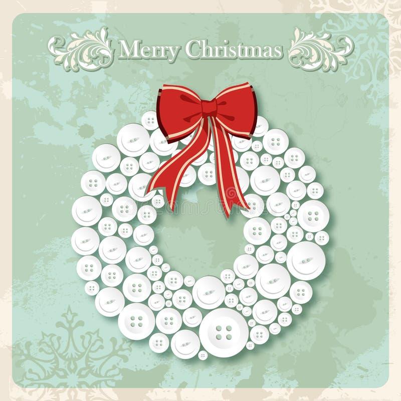 De uitstekende Vrolijke prentbriefkaar van de kroonknopen van Kerstmis vector illustratie