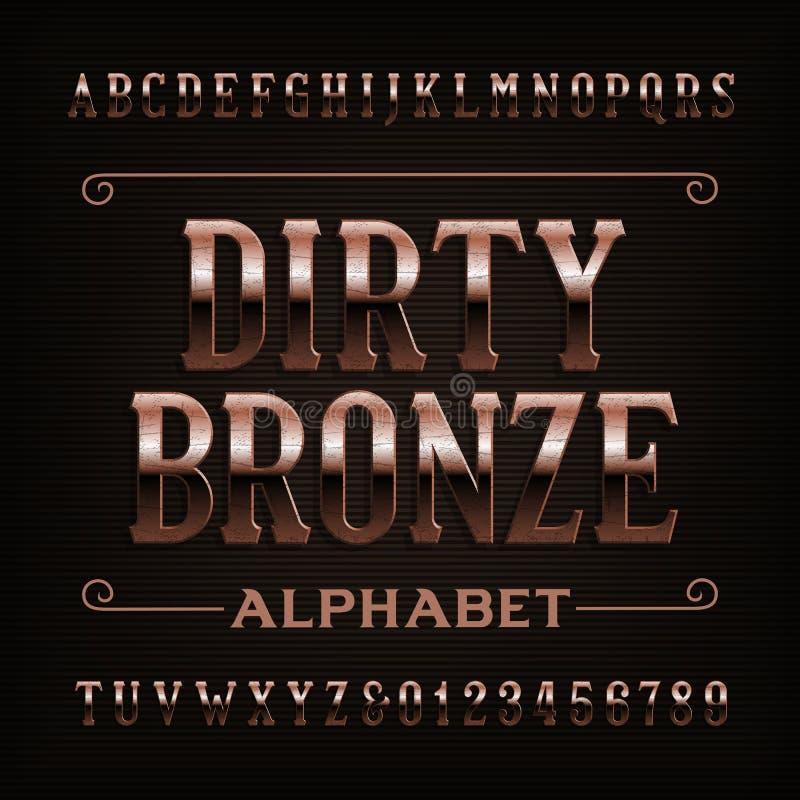 De uitstekende vuile doopvont van het bronsalfabet Gekraste letters en getallen vector illustratie