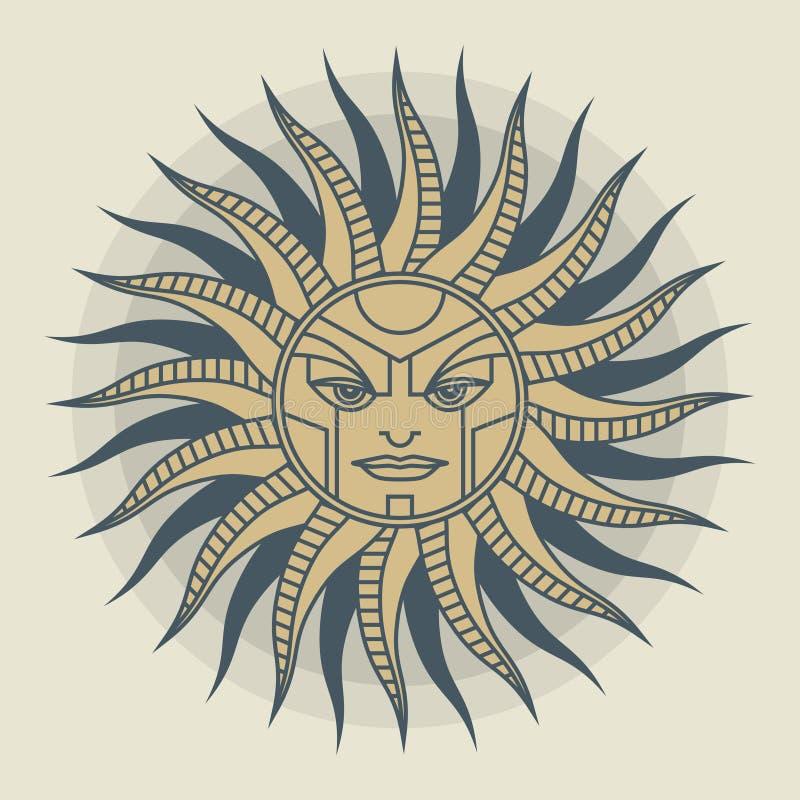 De uitstekende windroos van het zongezicht royalty-vrije illustratie
