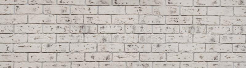 De uitstekende witte textuur van de wasbakstenen muur voor ontwerp Panoramische achtergrond voor uw tekst of beeld stock foto's