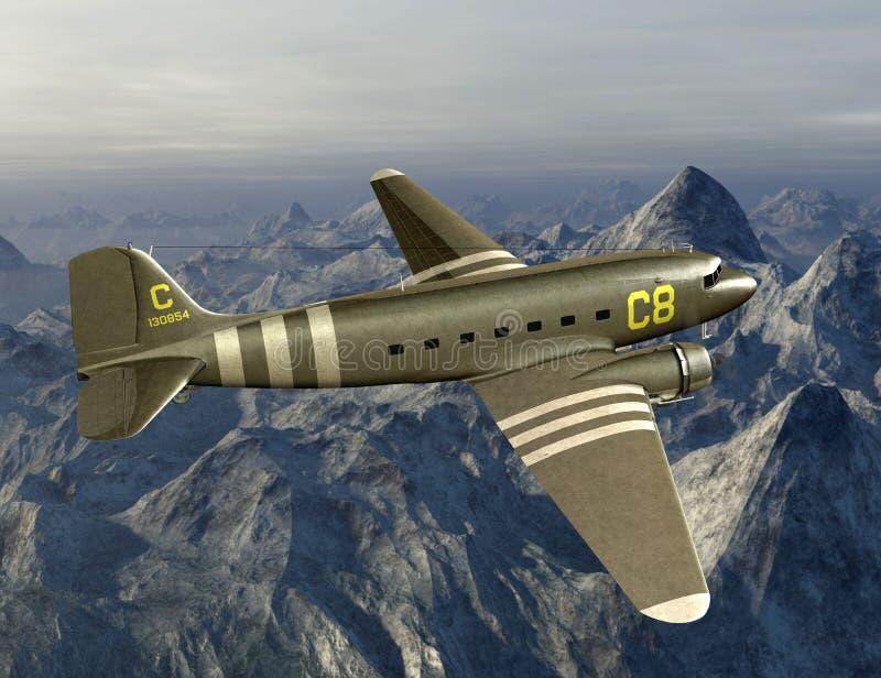 De uitstekende WO.II-Illustratie van het Ladingsvliegtuig royalty-vrije illustratie