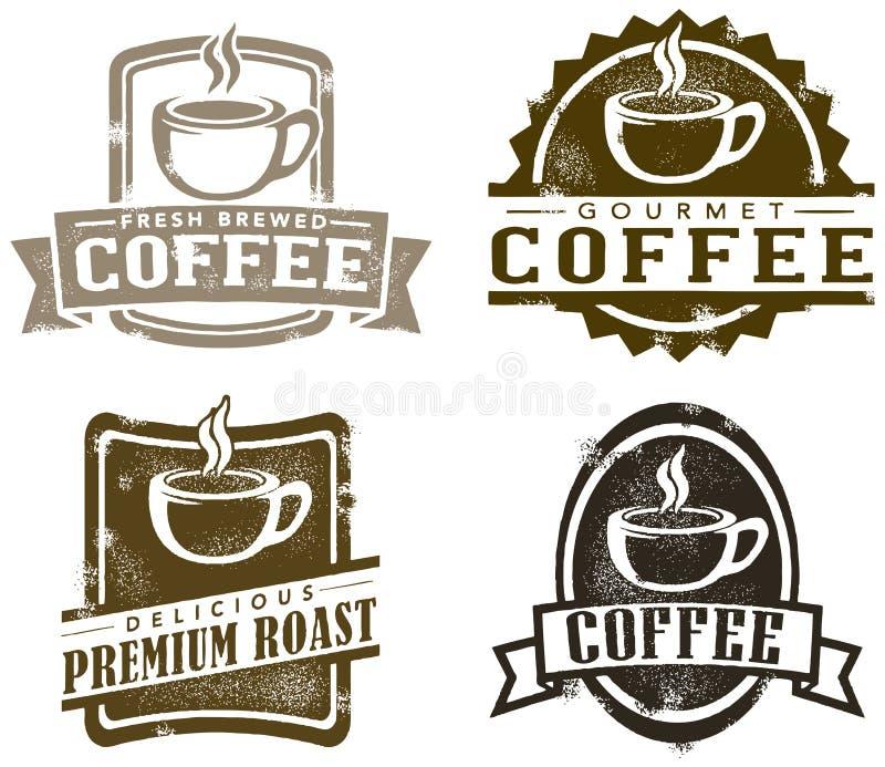 De uitstekende Zegels van de Koffie van de Stijl vector illustratie