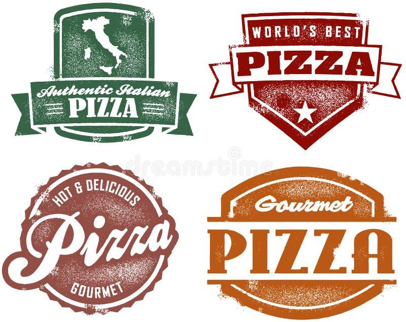 De uitstekende Zegels van de Pizza van de Stijl vector illustratie