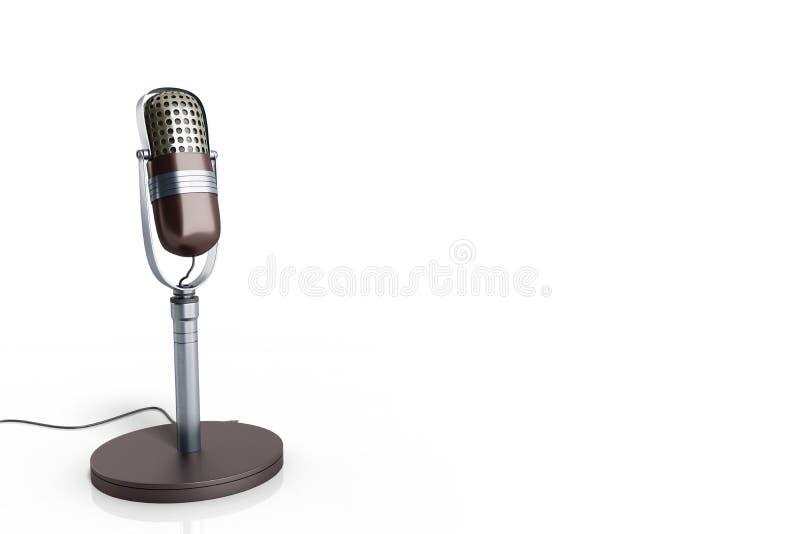 De uitstekende zilveren die microfoon op witte 3d achtergrond wordt geïsoleerd geeft terug royalty-vrije illustratie
