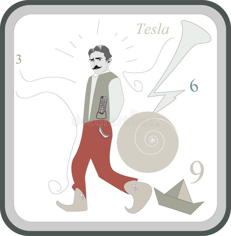De uitvinder en de ingenieur van Nicola Tesla royalty-vrije illustratie