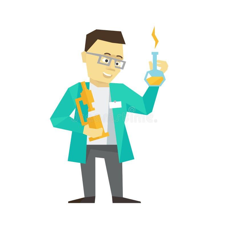 De uitvinders van de bedrijfs persoonswetenschapper mens De chemicus slim met bol en microscoop in een peignoir met glazen stock illustratie
