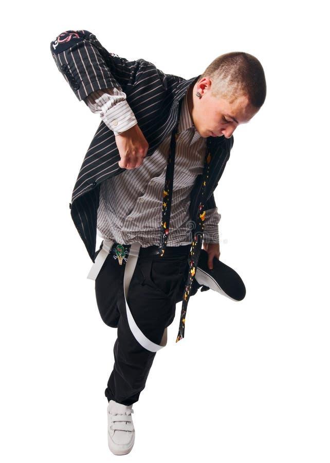 De uitvoerder van Breakdance op witte achtergrond stock foto
