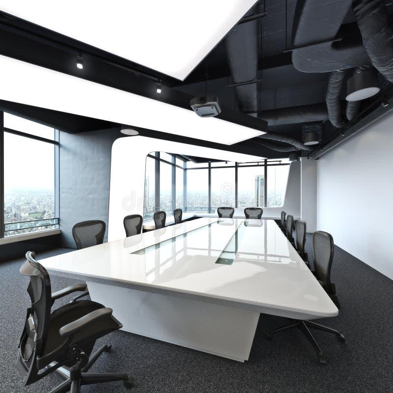 De uitvoerende hoge ruimte die stijgings moderne lege van de bedrijfsbureauconferentie een stad overzien royalty-vrije stock afbeelding