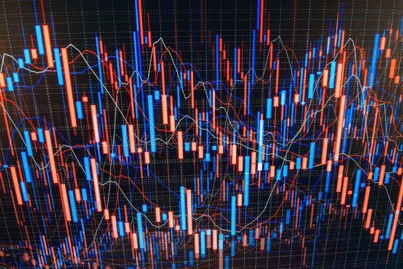 De uitwisseling van de munt Gegevens die in forex markt analyseren: de grafieken en de citaten op vertoning Van de de voorraadgra vector illustratie