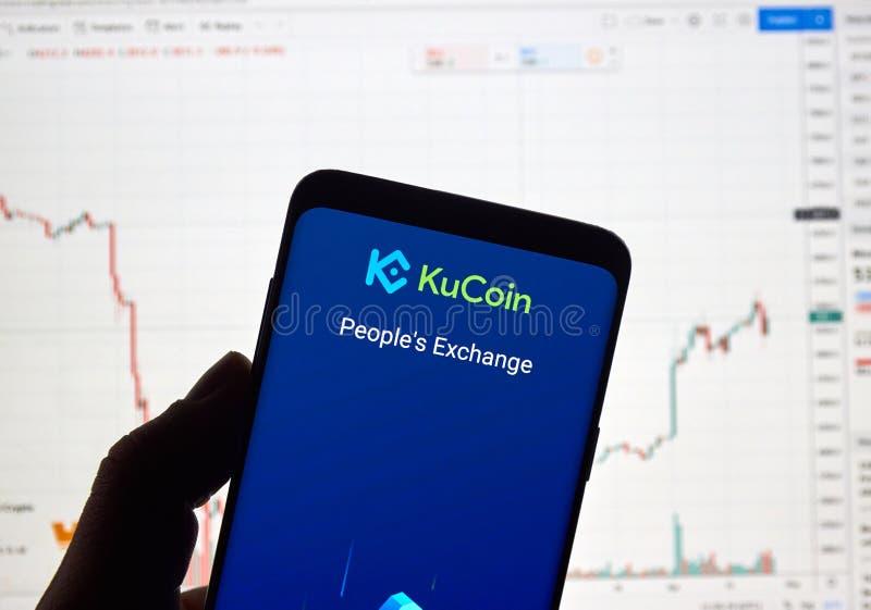 De uitwisselingsembleem van Kucoincryptocurrency royalty-vrije stock foto's