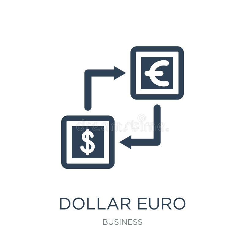 de uitwisselingspictogram van het dollar euro geld in in ontwerpstijl de uitwisselingspictogram van het dollar euro die geld op w stock illustratie