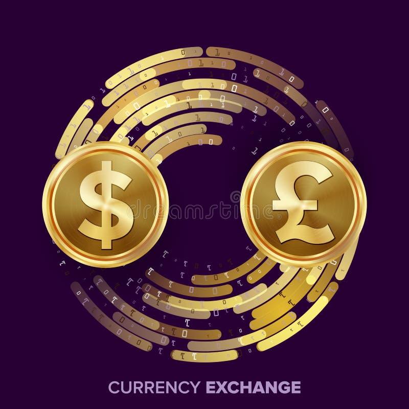 De Uitwisselingsvector van de geldmunt Dollar, GBP Gouden Muntstukken met Digitale Stroom Omzettingscommerciële exploitatie voor vector illustratie