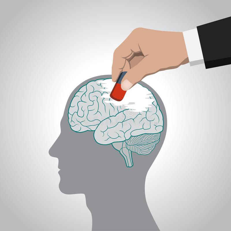 De uitwissing van de hersenen, zijn inhoud, geheugen, ontbering van individualiteit, controle van bewustzijn stock illustratie