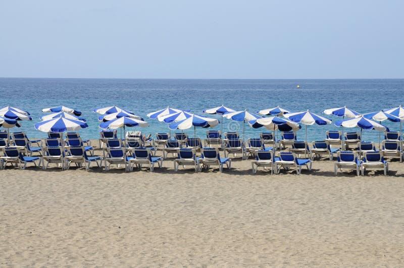 De Uitzicht van Las van het strand, Los Cristianos Tenerife stock foto's