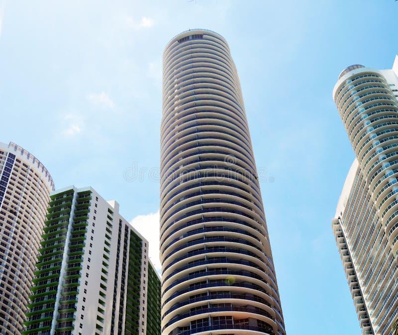 De ultra moderne torens van de huurflat in Miami van de binnenstad, Florida stock foto's