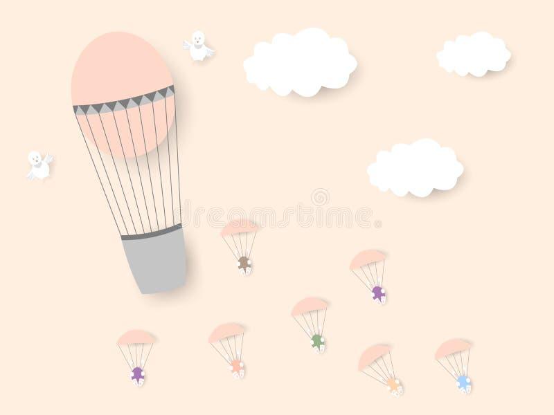 De um balão com pintainhos, os coelhos com Páscoa coloriram ovos voam em paraquedas Easter feliz ilustração do vetor