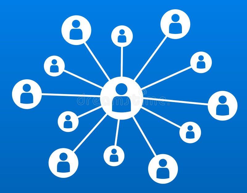 De uma comunicação empresarial social do conceito dos meios dos trabalhos em rede ilustração azul do vetor ilustração do vetor