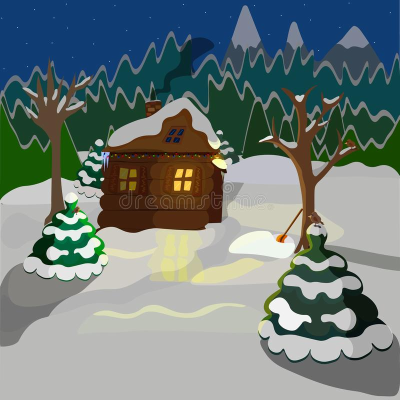 de uma paisagem do inverno, de uma casa de madeira no fundo da floresta e de montanhas ilustração royalty free