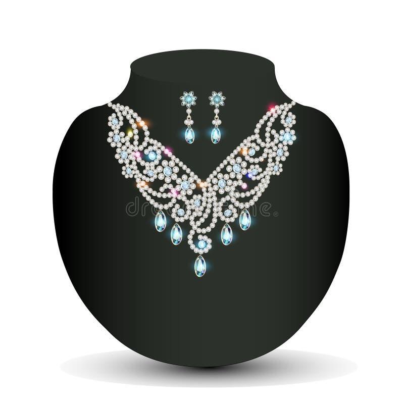 De una hembra de oro del collar con las piedras preciosas blancas libre illustration