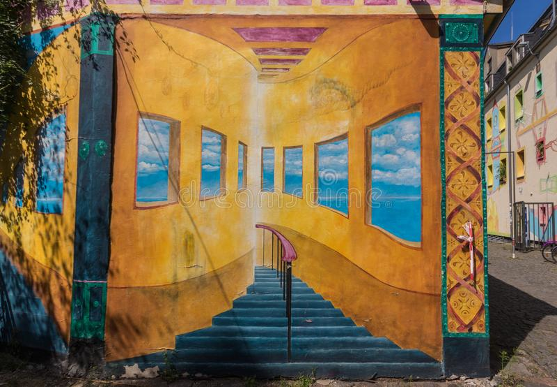 De underbara Dresden gatamålningarna royaltyfri illustrationer