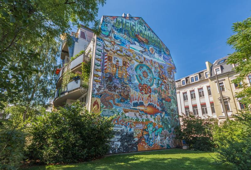 De underbara Dresden gatamålningarna stock illustrationer