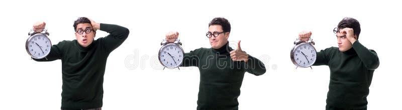 De unga pengarna för nerd med den jätte- klockan som isoleras på vit arkivfoto