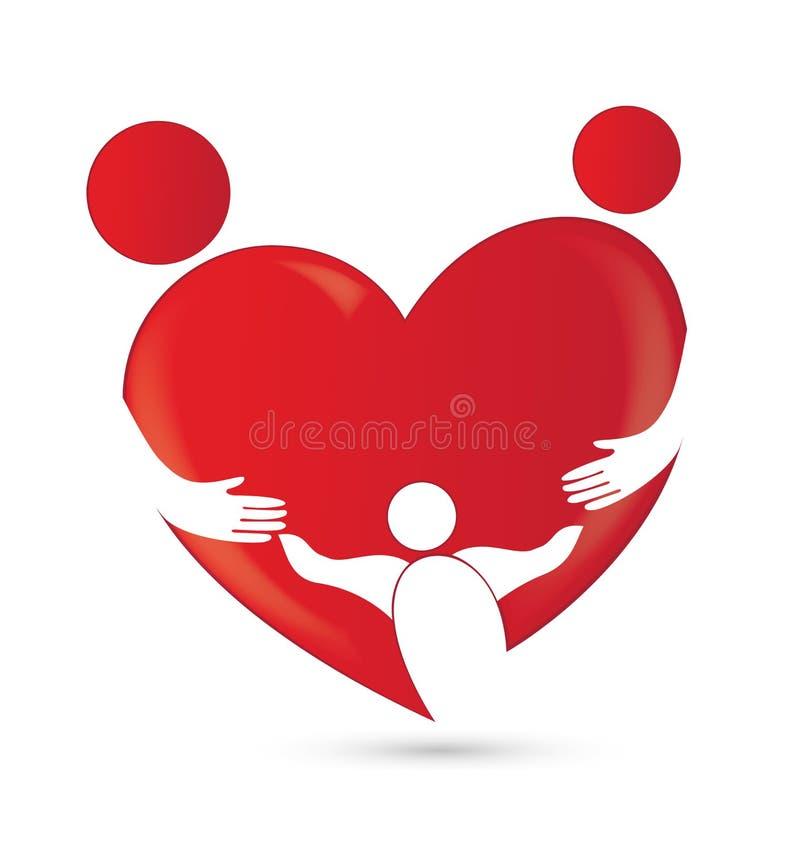 De unie van de familie in een hartvorm royalty-vrije illustratie