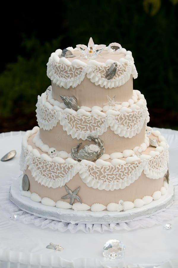 De unieke cake van het Huwelijk stock fotografie