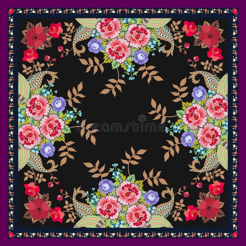 De unieke sjaal of het tapijt met boeketten van fantasie bloeien, gouden bladeren en Paisley op zwarte achtergrond Vector beeld royalty-vrije illustratie