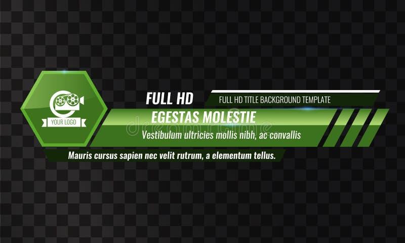 De unieke Videokrantekoptitel of vermindert derde malplaatje Vectorillustratie - Groene kleur stock illustratie