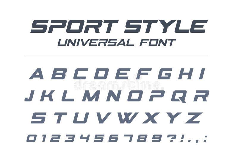 De universele doopvont van de sportstijl Snelle futuristische snelheid, technologie, toekomstig alfabet royalty-vrije illustratie