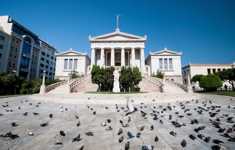 De universitaire bibliotheek van Athene, Griekenland stock foto