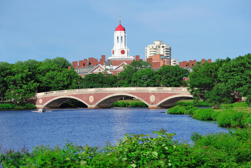 De Universitaire campus van Harvard in Boston stock foto
