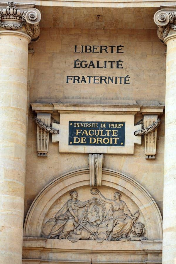 De Universitaire Faculteit van Parijs van Wet dichtbij het Pantheon stock fotografie