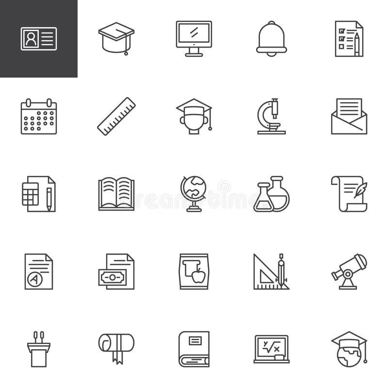 De universitaire geplaatste pictogrammen van het onderwijsoverzicht vector illustratie