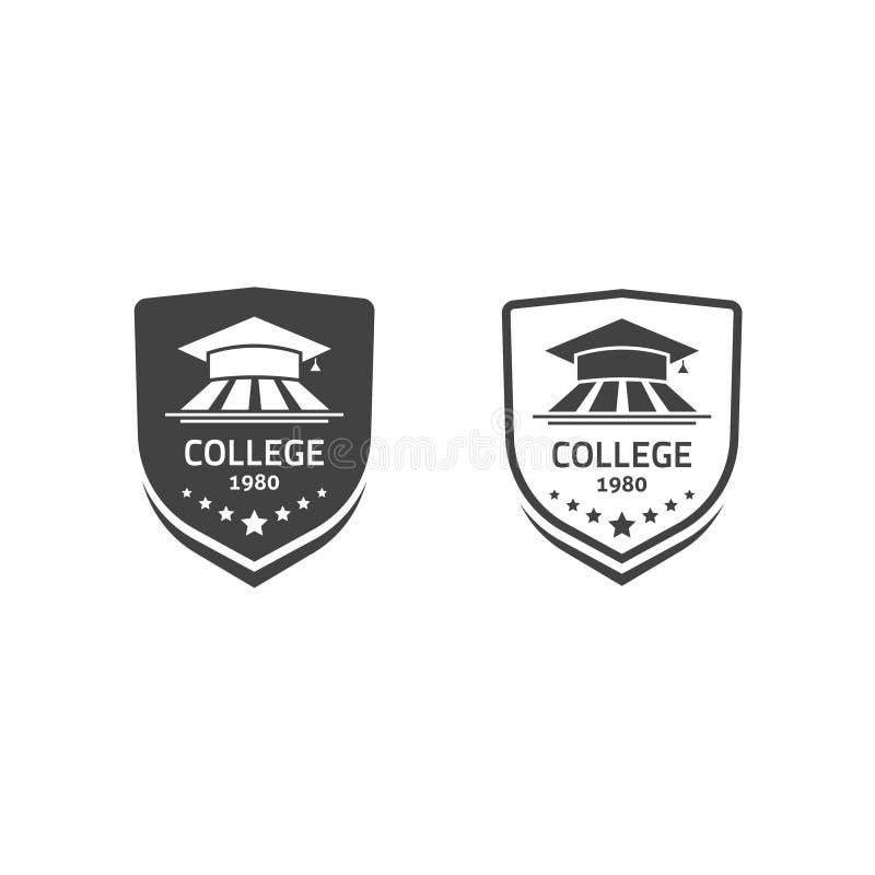 De universitaire kammen en emblemen van de universiteitsschool geplaatst vectoremblemen royalty-vrije illustratie