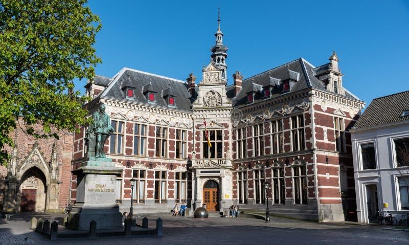 De Universitaire Zaal van Utrecht, Domplein royalty-vrije stock afbeeldingen