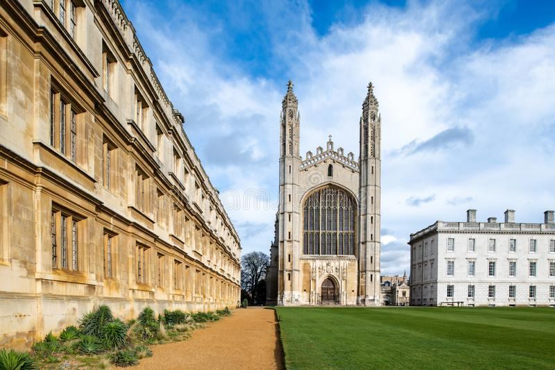De Universiteit van de beroemde Koning in Cambridge, het UK royalty-vrije stock foto's