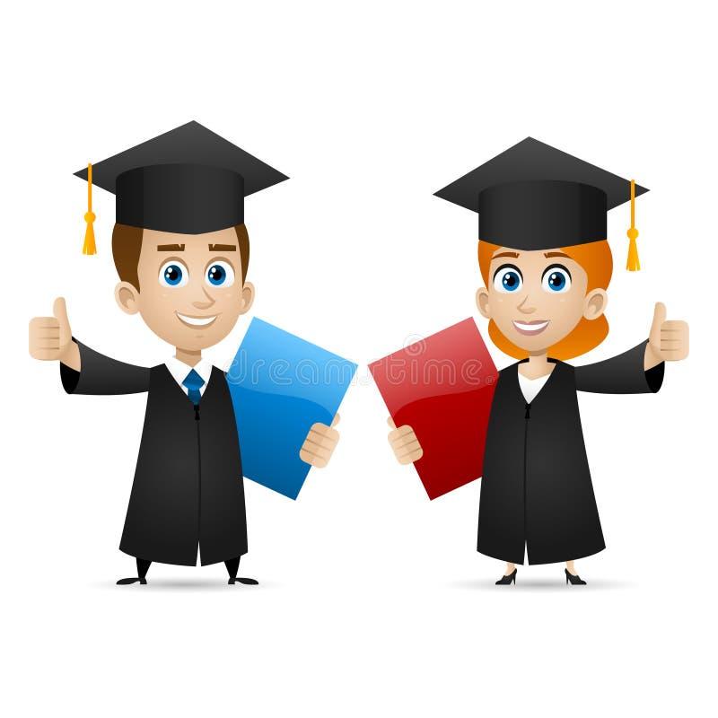 De universiteit van het kerelmeisje behaalt toont duimen een diploma vector illustratie