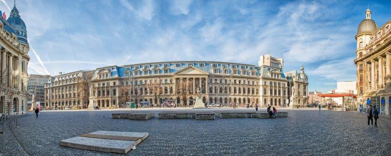 De Universiteit van het panorama van Boekarest stock fotografie