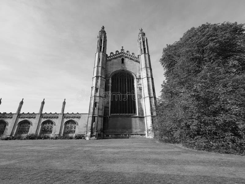 De Universiteit van de koning in Cambridge in zwart-wit royalty-vrije stock foto