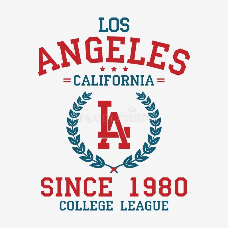 De universiteitstypografie van Los Angeles voor t-shirt Het overhemd van het de slogant-stuk van Californië, de druk van de sport royalty-vrije illustratie