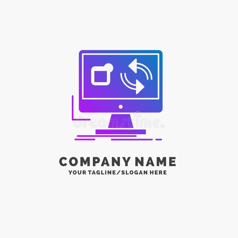 de update, app, toepassing, installeert, synchronisatie Purpere Zaken Logo Template Plaats voor Tagline vector illustratie