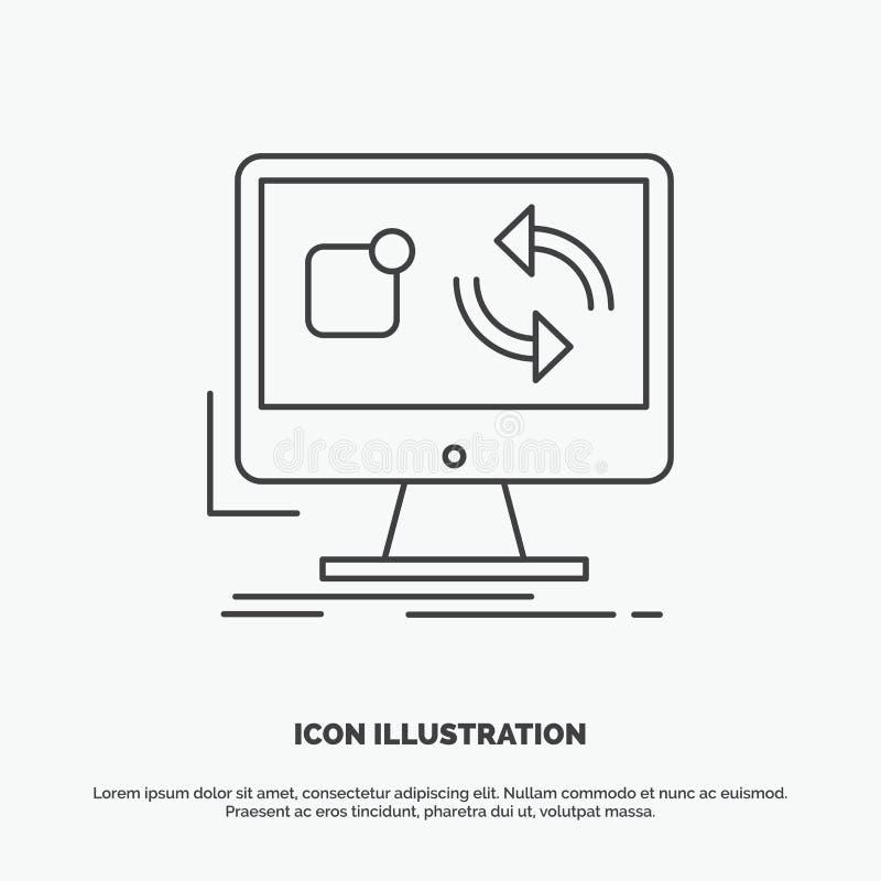 de update, app, toepassing, installeert, synchronisatiepictogram Lijn vector grijs symbool voor UI en UX, website of mobiele toep royalty-vrije illustratie