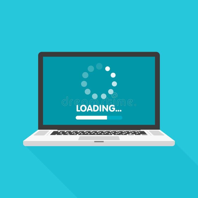 De update van de systeemsoftware en verbeteringsconcept Ladingsproces in laptop het scherm Vector illustratie royalty-vrije illustratie