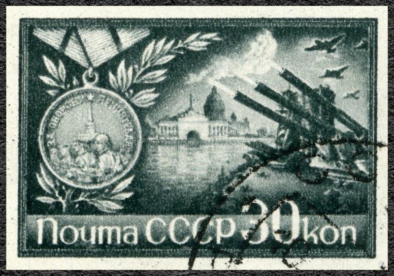 De USSR - 1944: toont Bevrijding van Leningrad, 27 Januari, 1944, de Belegering van de blokkade van Leningrad royalty-vrije stock afbeeldingen