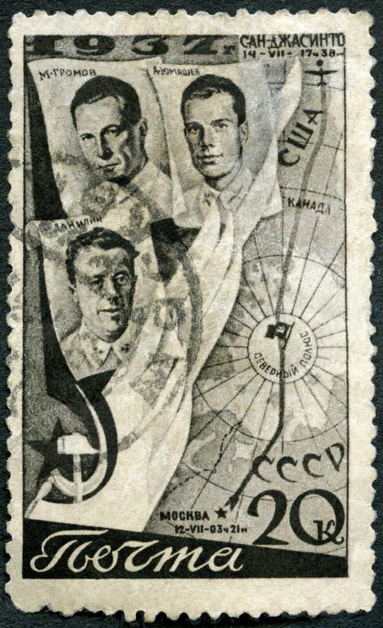 De USSR - 1938: toont Vliegeniers Gromov, de Route van Danilin, van Yumashev en van de Vlucht, Eerste Trans-Polar vlucht, 18-20 J stock foto's