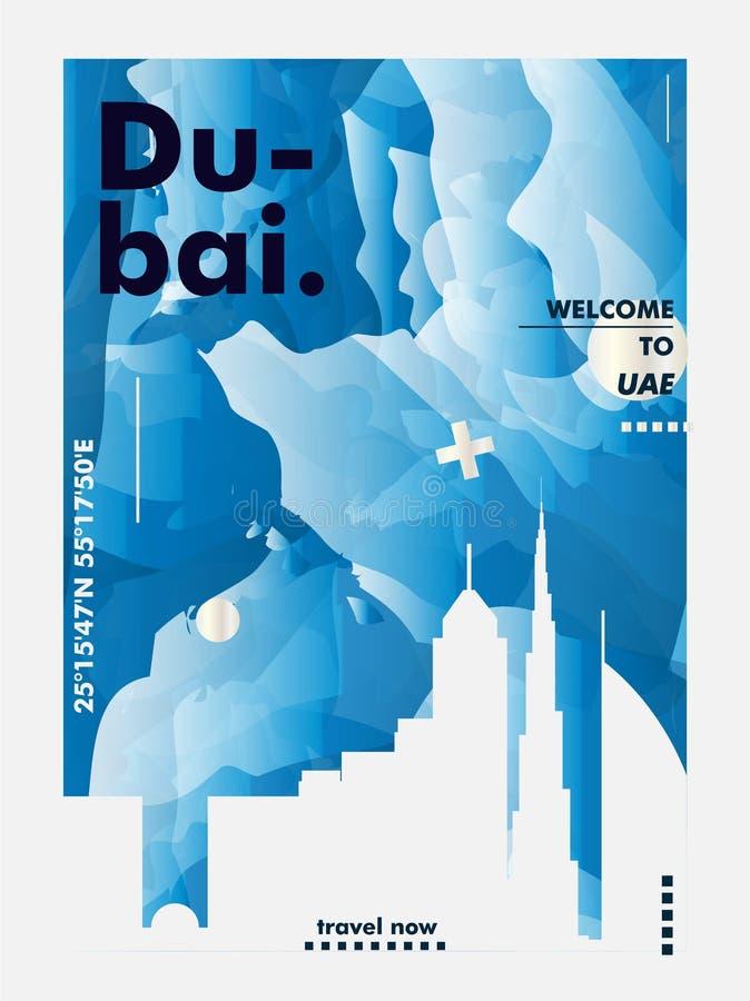 De V.A.E Verenigde Arabische van de de horizonstad van Doubai van Emiraten de gradiënt vectorpost vector illustratie