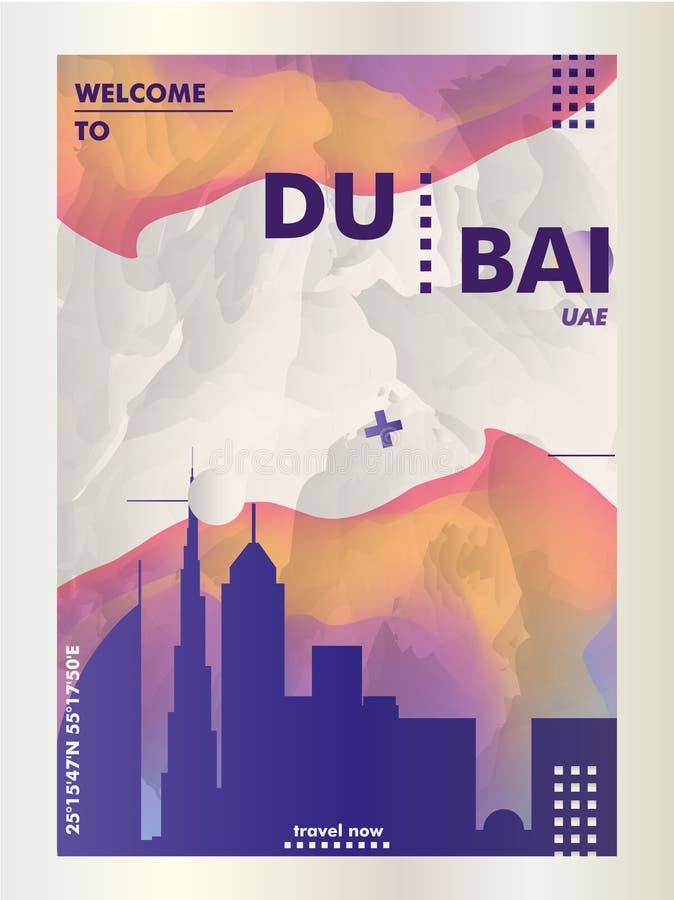 De V.A.E Verenigde Arabische van de de horizonstad van Doubai van Emiraten de gradiënt vectorpost stock illustratie
